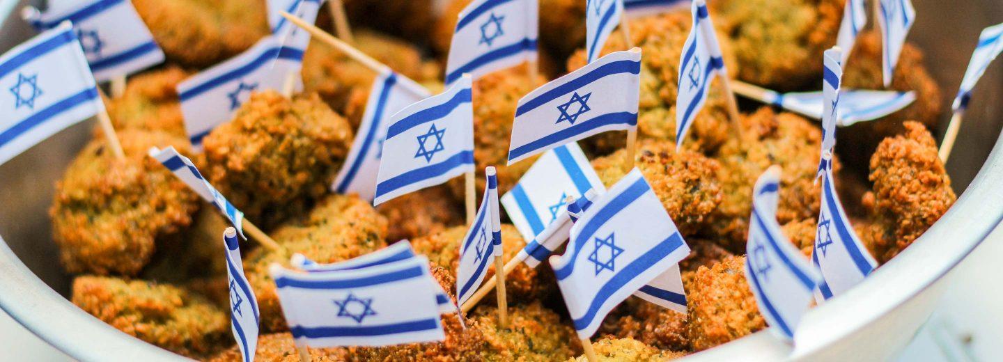 Food with small israeli flags